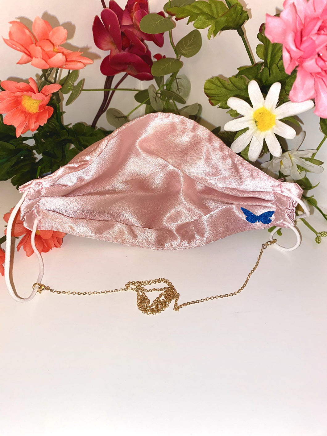 Pink Silk Mask With Chain - Fly Sew Lovely Boutique