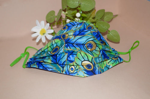 Peacock Face Mask - Fly Sew Lovely Boutique