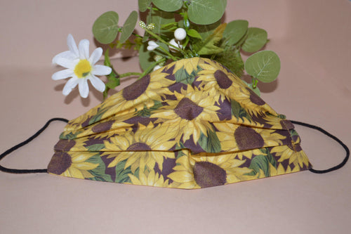 Sunflower Pleated Face Mask - Fly Sew Lovely Boutique