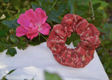 Load image into Gallery viewer, Red and gold butterfly Scrunchie - Fly Sew Lovely Boutique