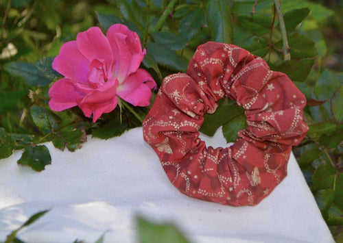 Red and gold butterfly Scrunchie - Fly Sew Lovely Boutique