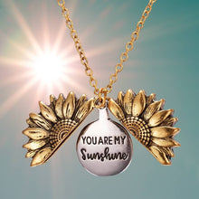 "Load and play video in Gallery viewer, ""You Are My Sunshine"" open locket sunflower necklace"