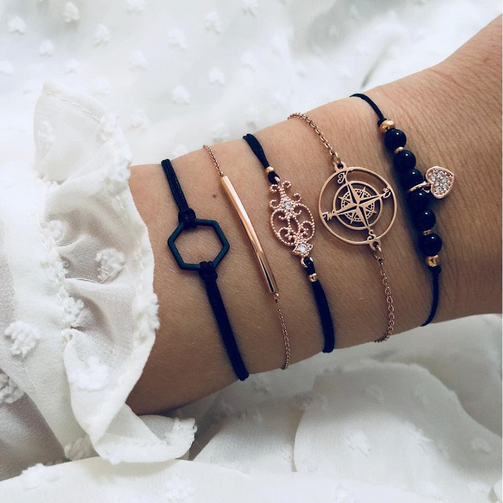 5 Pcs/ Set Geometric Black Coin Charm Braclets