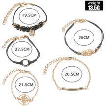 Load image into Gallery viewer, 5 Pcs/ Set Geometric Black Coin Charm Braclets