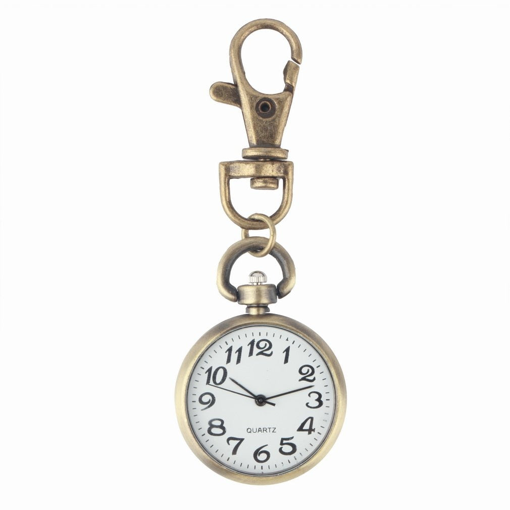 Retro Bronze vintage pocket watch Keychain