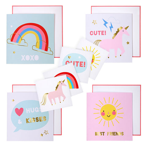 Unicorn  Valentines Day Card and Tattoos Kit