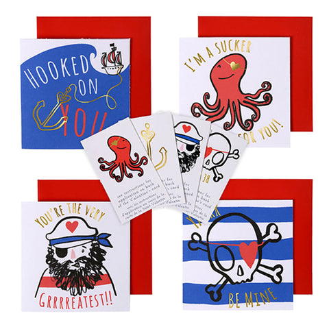 Pirate Card and Tattoo Valentines Day Card Kit