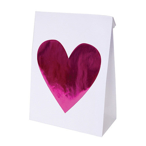 6 Pink Heart Treat Bags