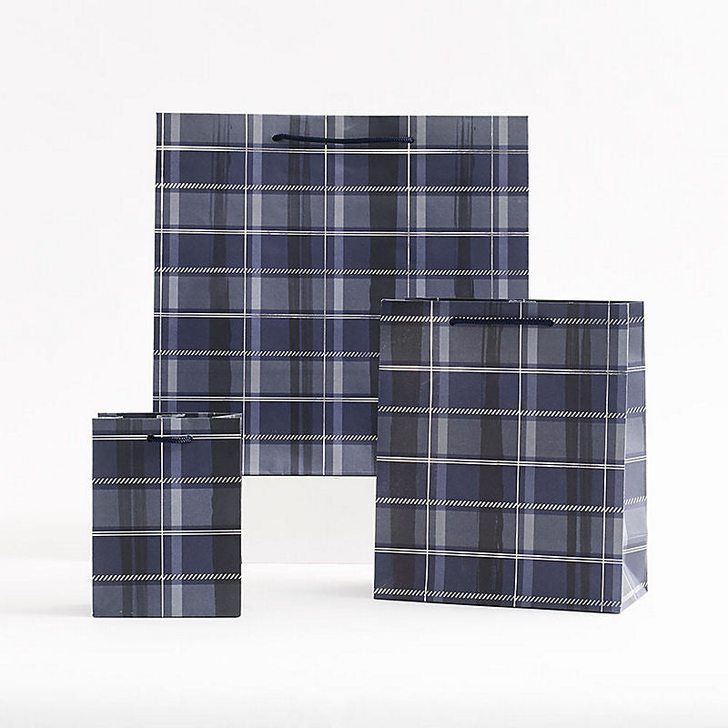 Navy Plaid Gift Bags
