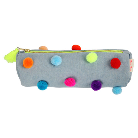 Chambray Pom Pom Pencil Pouch