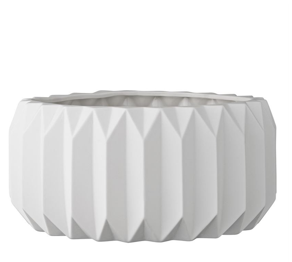 Large White Ceramic Fluted Pot
