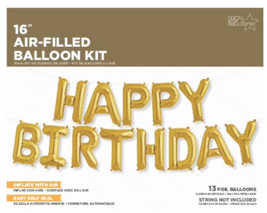Happy Birthday Balloon Kit - Gold