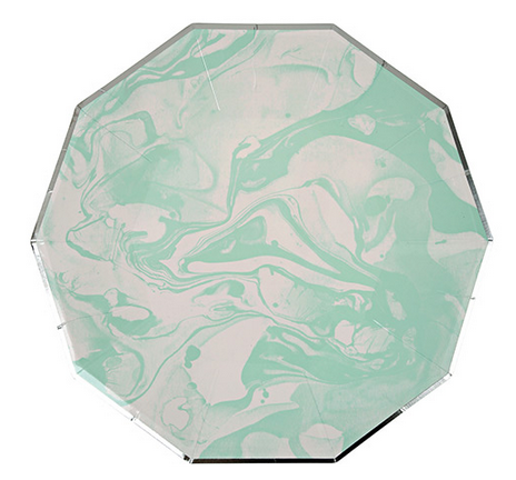 marble mint pattern large plate