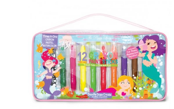 Brilliant Mermaid Crayon Paint Sticks - Travel Tote