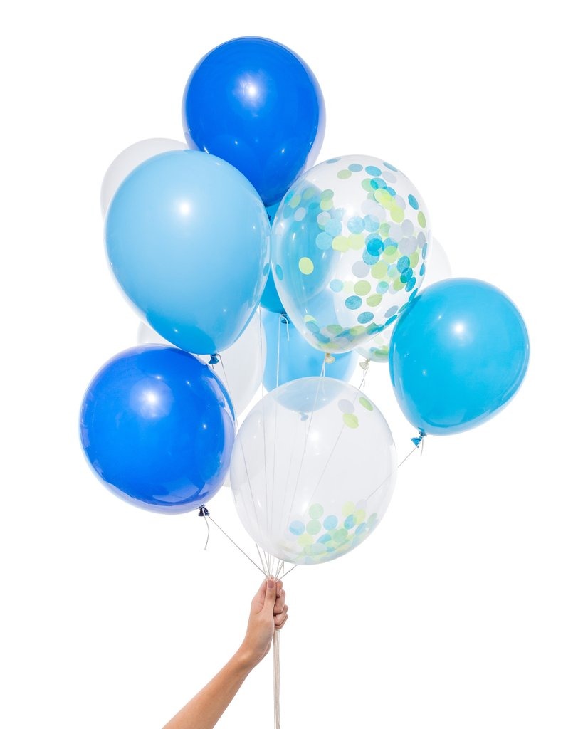 Assorted Blue & Confetti Balloon Kit