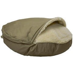 dog cave bed, snoozer dog bed, khaki dog bed