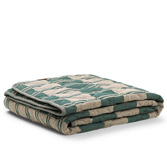 outdoor quilted blanket, play mat, quilted blanket, green and sand blanket