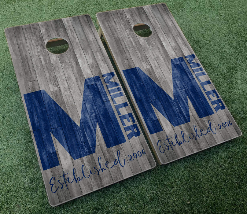 family name monogram barnwood
