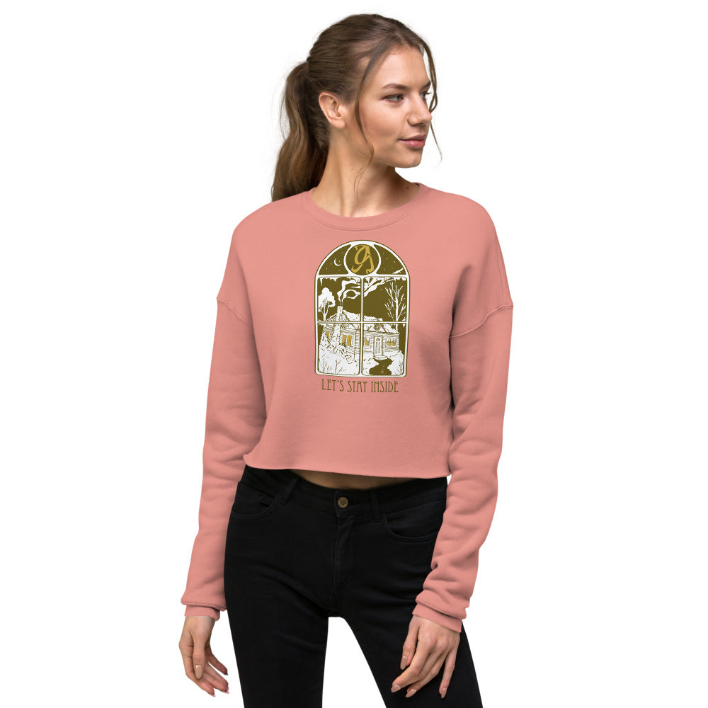 Let's Stay Inside Crop Crewneck (vintage print)