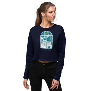 Let's Stay Inside Crop Crewneck (blue print)