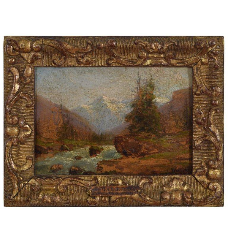 Oil on Wooden Panel Signed Charles Malfroy, Alpine River Scene