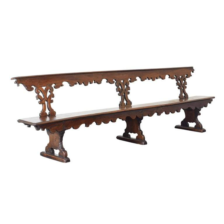 Monumental Walnut Bench