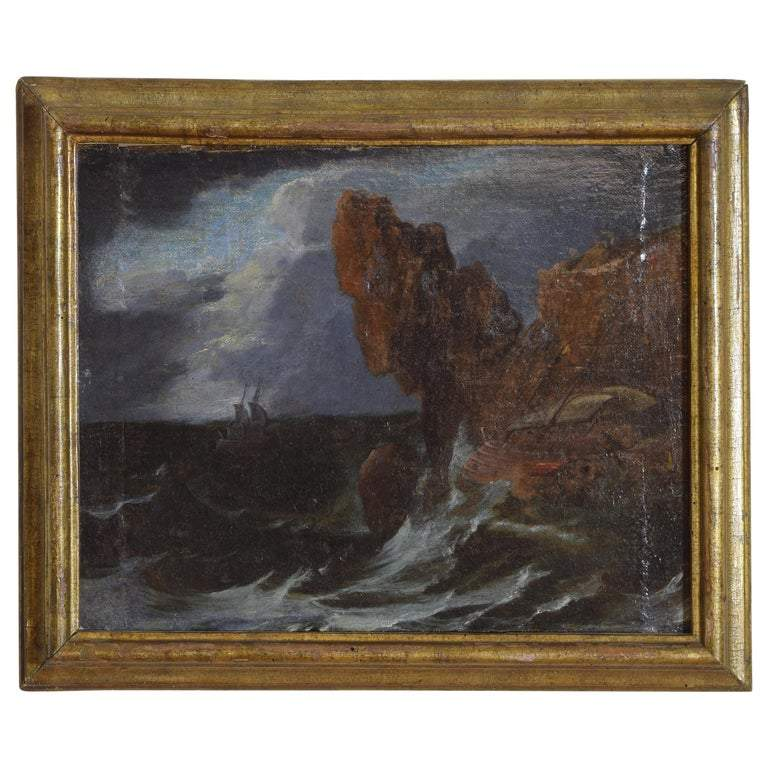 Oil on Canvas on Board, Broken Two Masted Galeone in a Tempest
