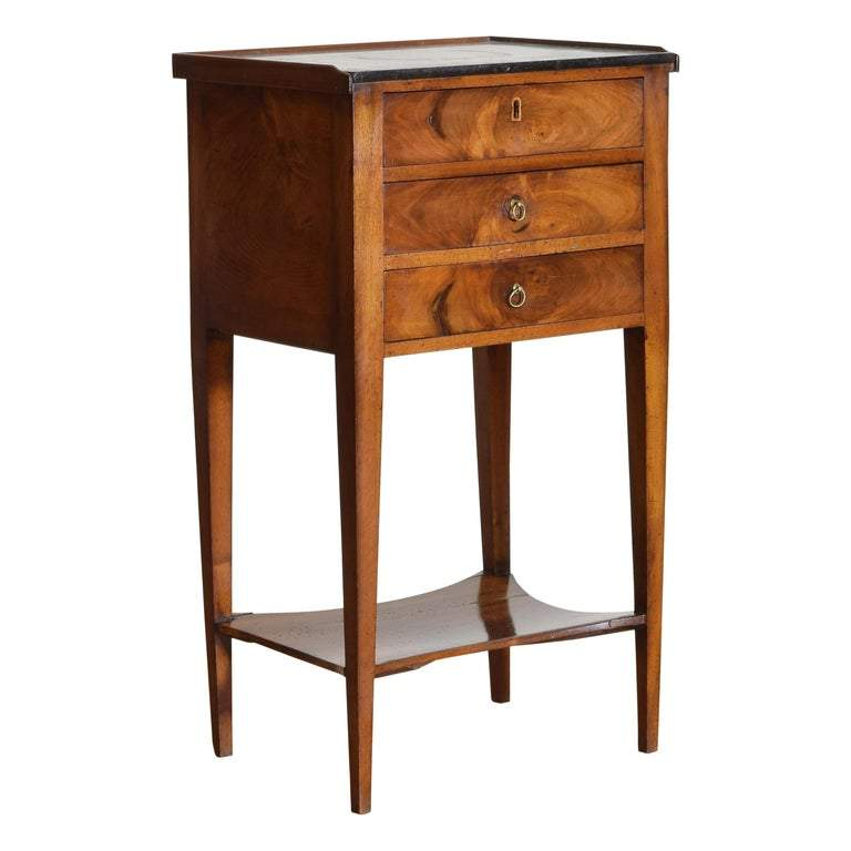 Walnut Tiered 3-Drawer Marble-Top Commode