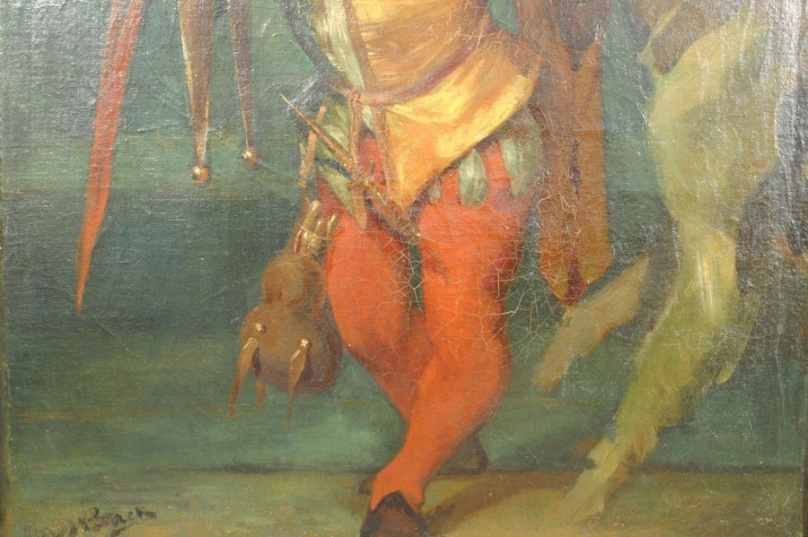 Signed Oil on Canvas, Jester with Parrot and Dog