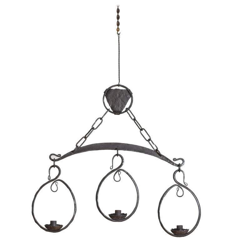 Wrought Iron 3-Light Chandelier