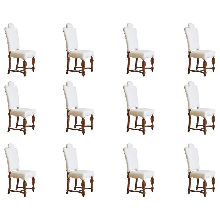 Set of 12 Wooden Dining Chairs