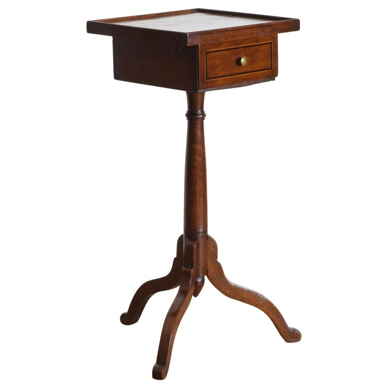 Walnut and Inlaid 1-Drawer Pedestal Table