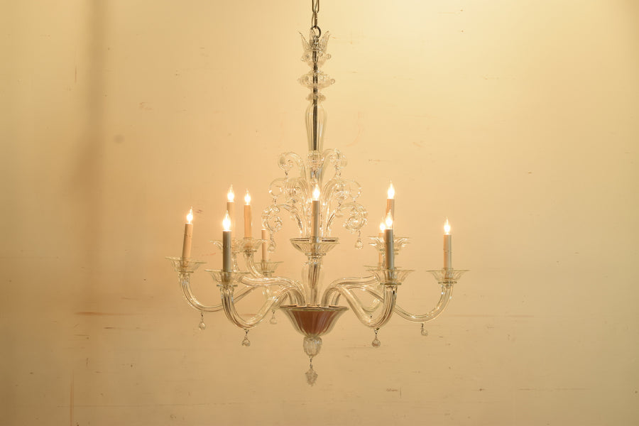 Clear Murano Glass 2-Tier 12-Light Chandelier