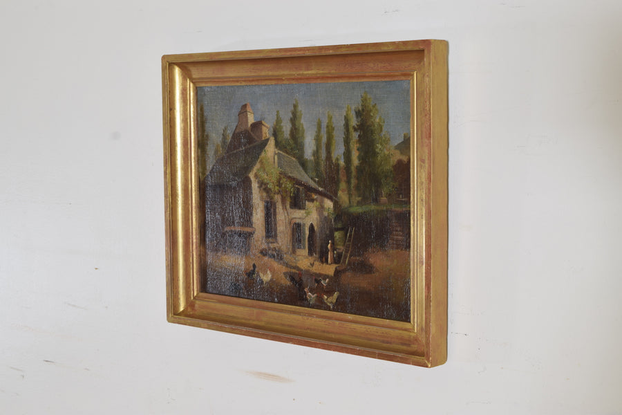 Oil on Canvas, Farmhouse with Figures and Fowl