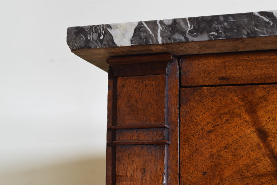 Walnut and Marble-Top 5-Drawer Commode