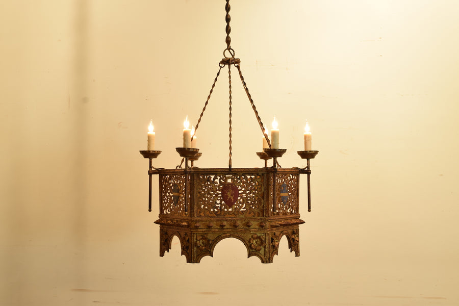 Wrought Iron, Gilt, and Painted Metal 6-Light Chandelier