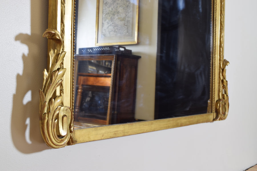 Large Carved Giltwood and Gilt-Gesso Mirror
