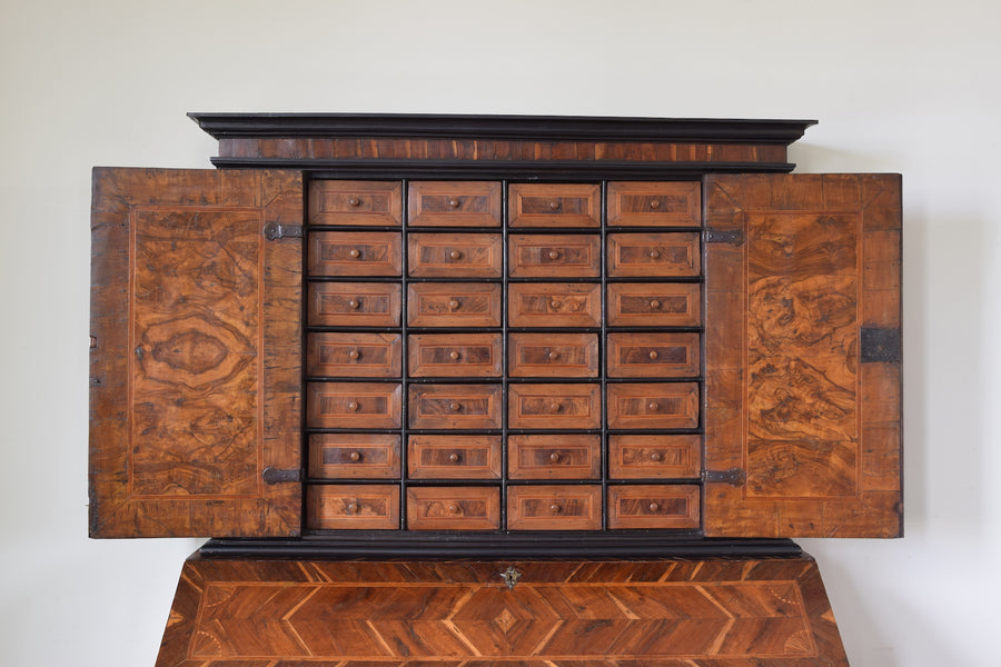 Walnut and Mixed Veneer Secretary Cabinet