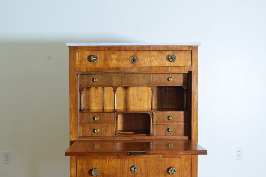 Cherrywood and Marble-Top Secretary Cabinet