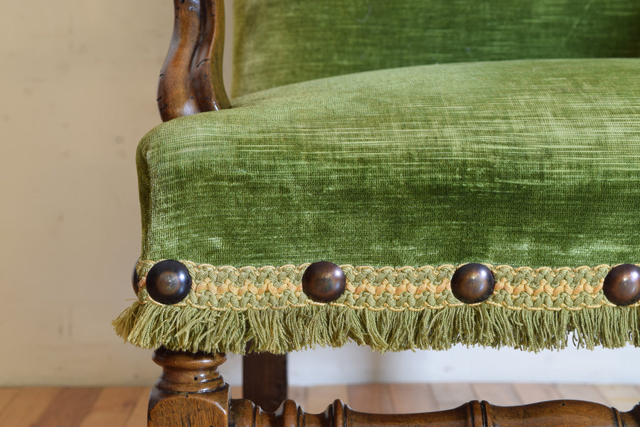 Walnut and Upholstered Poltrona