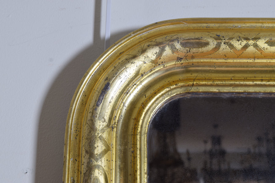 Shaped Giltwood and Stencil Gilt Mirror