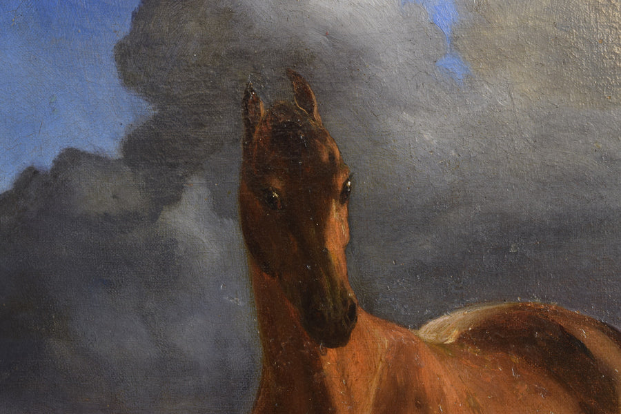 "Oil on Canvas, Horse Portrait, ""Before the Storm"", Signed 1875"