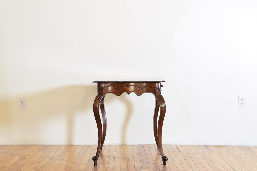 Carved and Shaped Walnut 1-Drawer Table