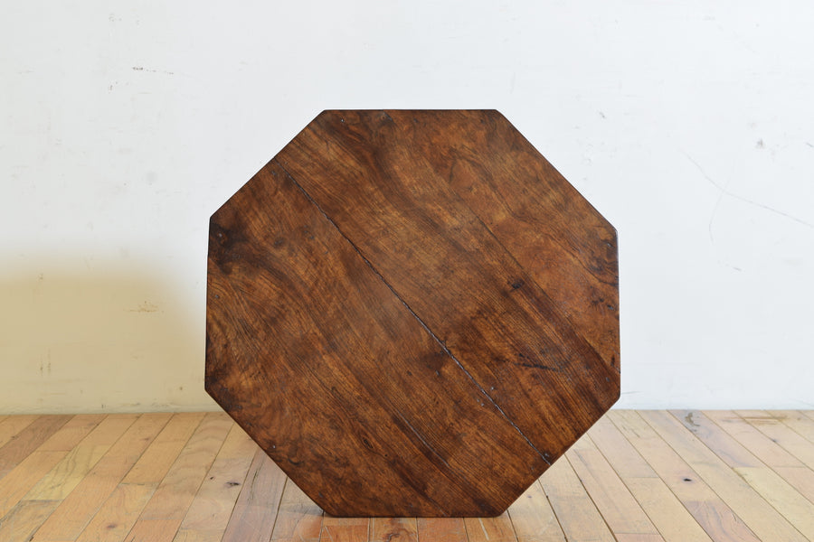 Walnut Octagonal 1-Drawer Center Table
