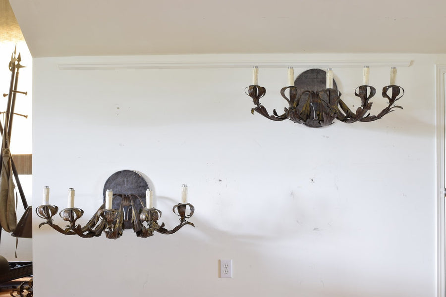 Pair of Gilt Iron and Metal 5-Light Wall Appliques