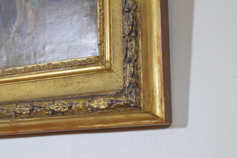 Oil on Canvas in Giltwood Frame, Musketeer in Interior with Antiques