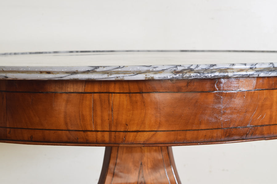 Cherrywood Veneered and Inlaid Marble-Top Center Table