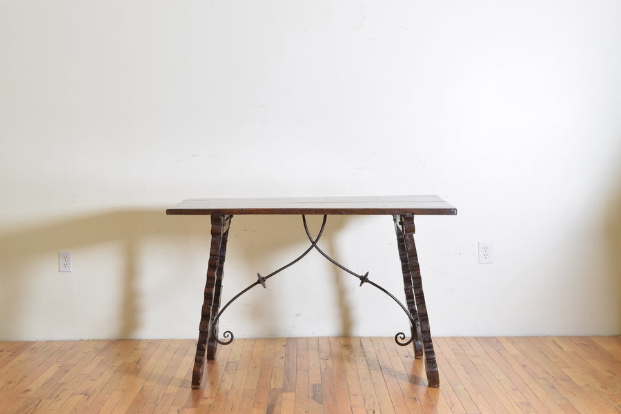 Walnut and Iron Mounted Guard Room Table