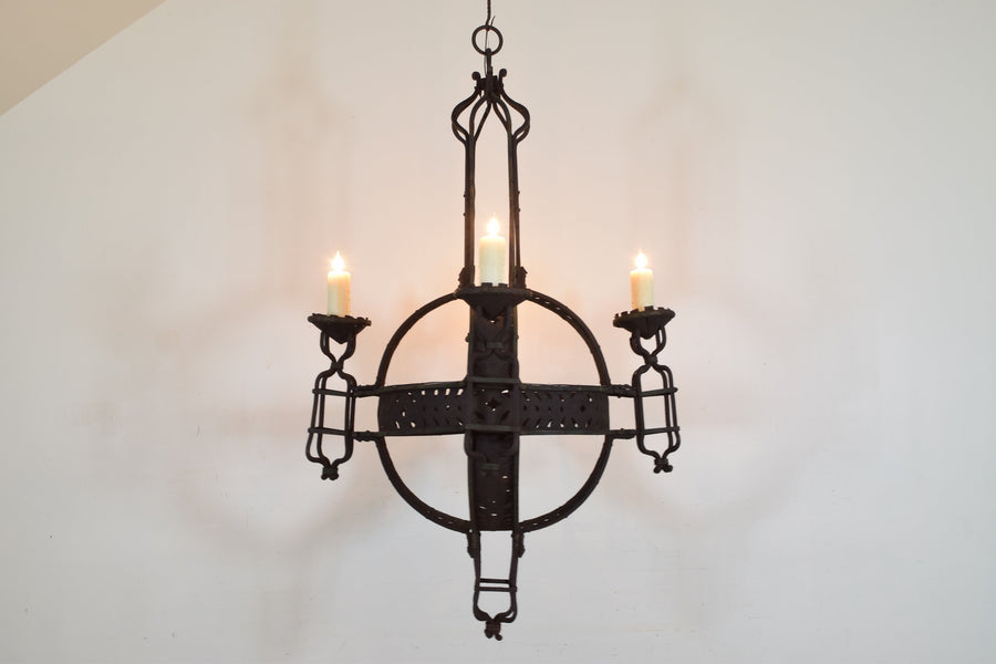 Large Wrought Iron 4-Light Orb Chandelier