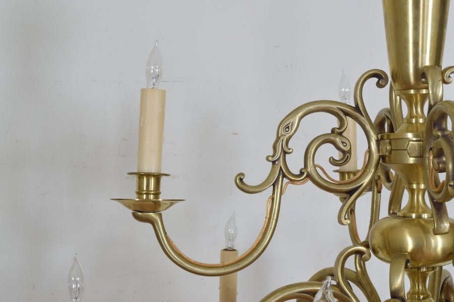 Brass 10-Light, 2-Tier Chandelier